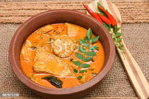 istock Top view of spicy and hot king fish curry Kerala Indian food 667671236