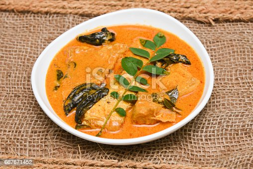 istock Top view of spicy and hot king fish curry Kerala Indian food 667671452