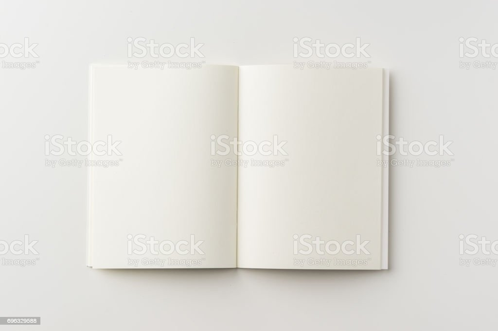 Top view of spiral blank notebook on white background stock photo