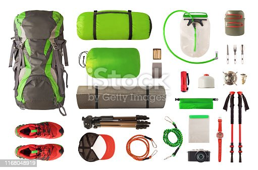 istock Top view of sport equipment and gear for trekking and camping isolated 1168048919