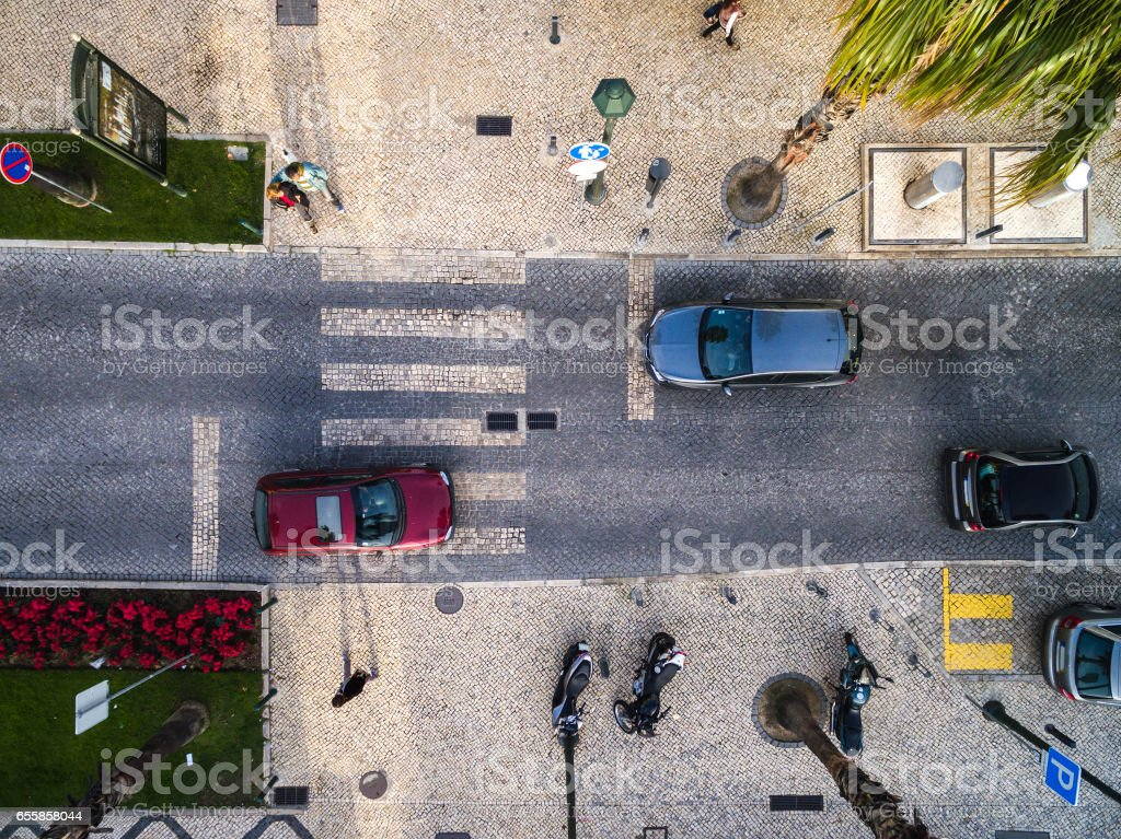 Top View of Street with Palm Trees in a Beach stock photo