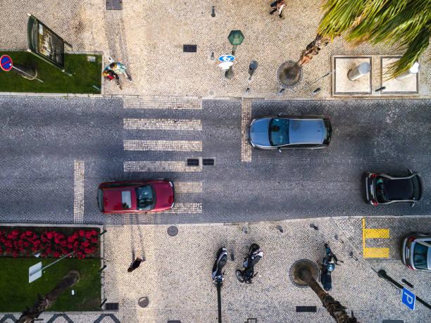 Vista superior da rua com palmeiras em uma praia - foto de acervo