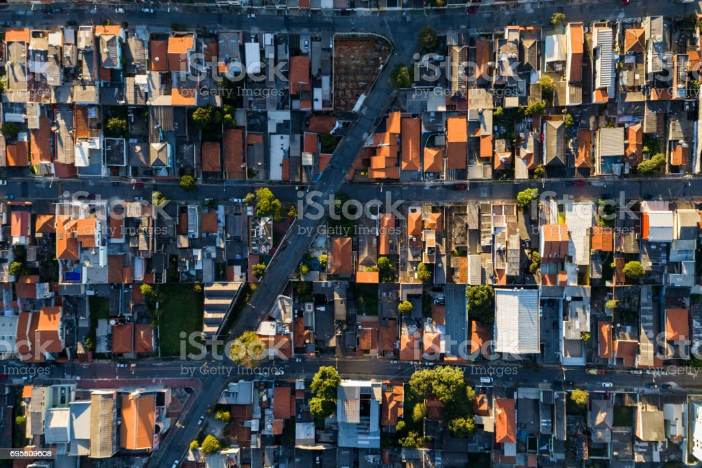 Top View of Suburban Neighborhood in Sao Paulo, Brazil stock photo