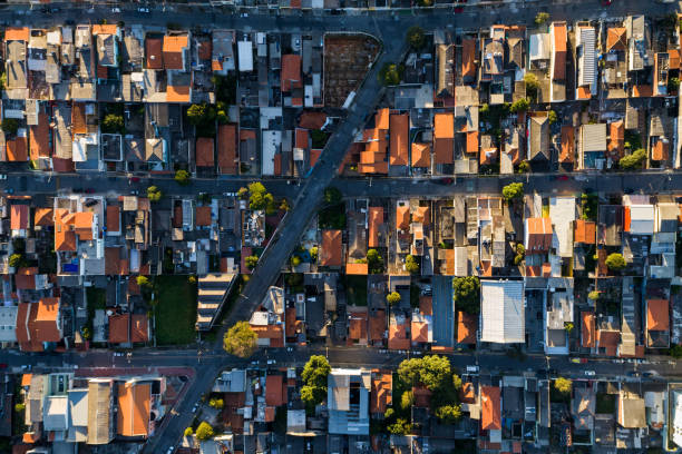 top view of suburban neighborhood in sao paulo, brazil - urban sprawl stock photos and pictures