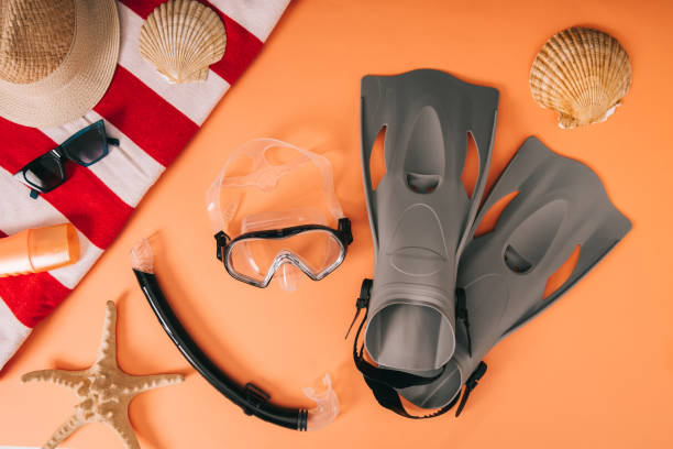 top view of summer accessories and diving equipment on orange background with seashells top view of summer accessories and diving equipment on orange background with seashells diving flipper stock pictures, royalty-free photos & images
