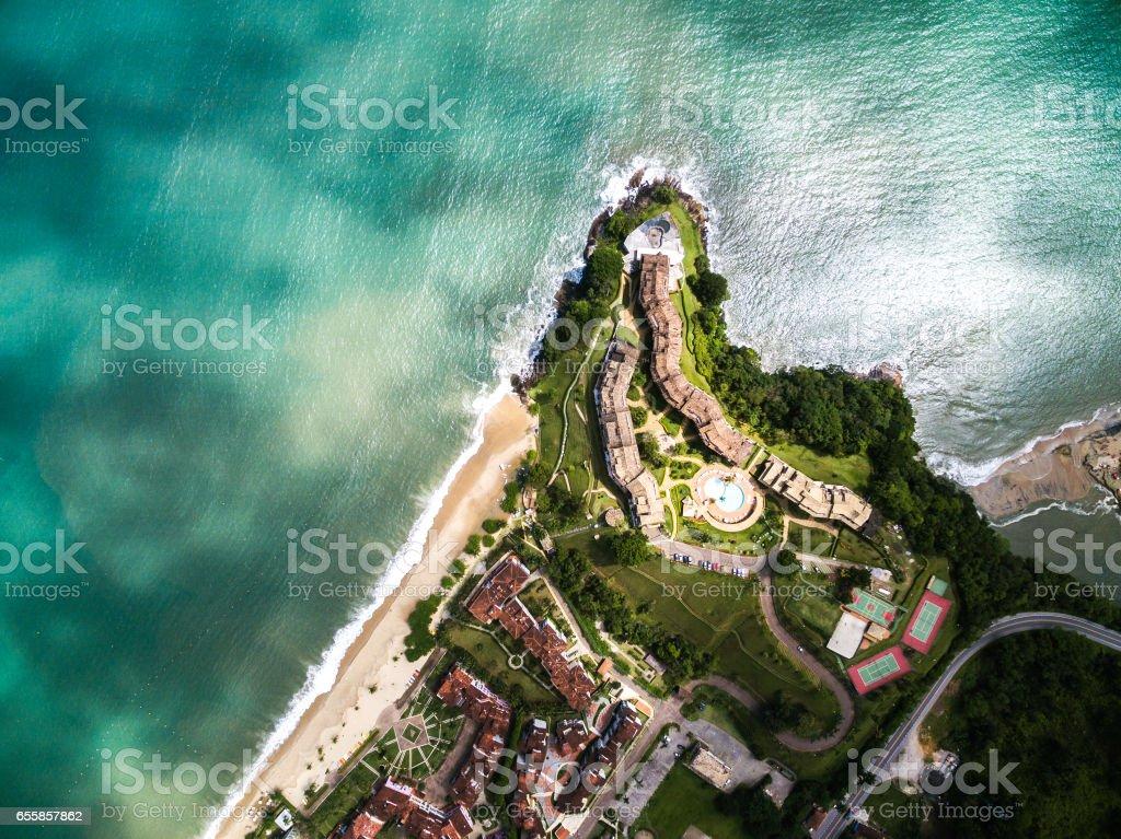 Top View of Tabatinga Beach, Caraguatatuba, Sao Paulo, Brazil stock photo