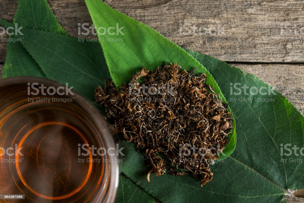 Top view of tea equipment stock photo