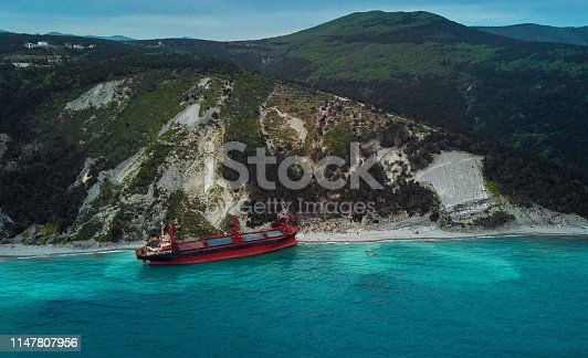 top view of the cargo ship stranded