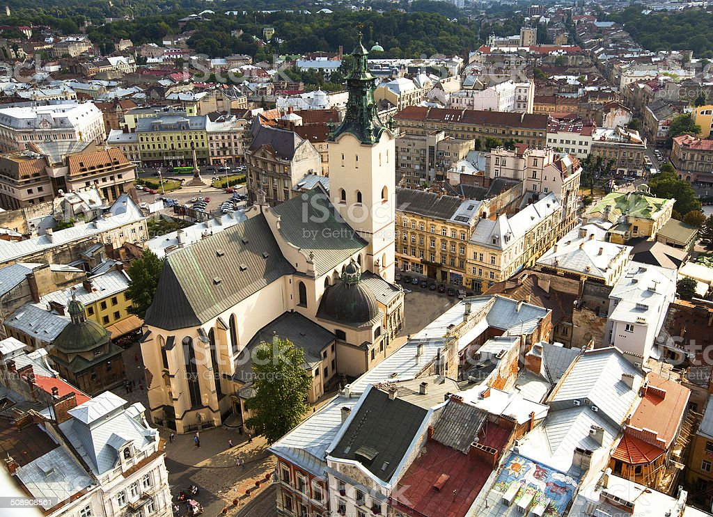 Top view of the Cathedral in Lviv, Ukraine stock photo