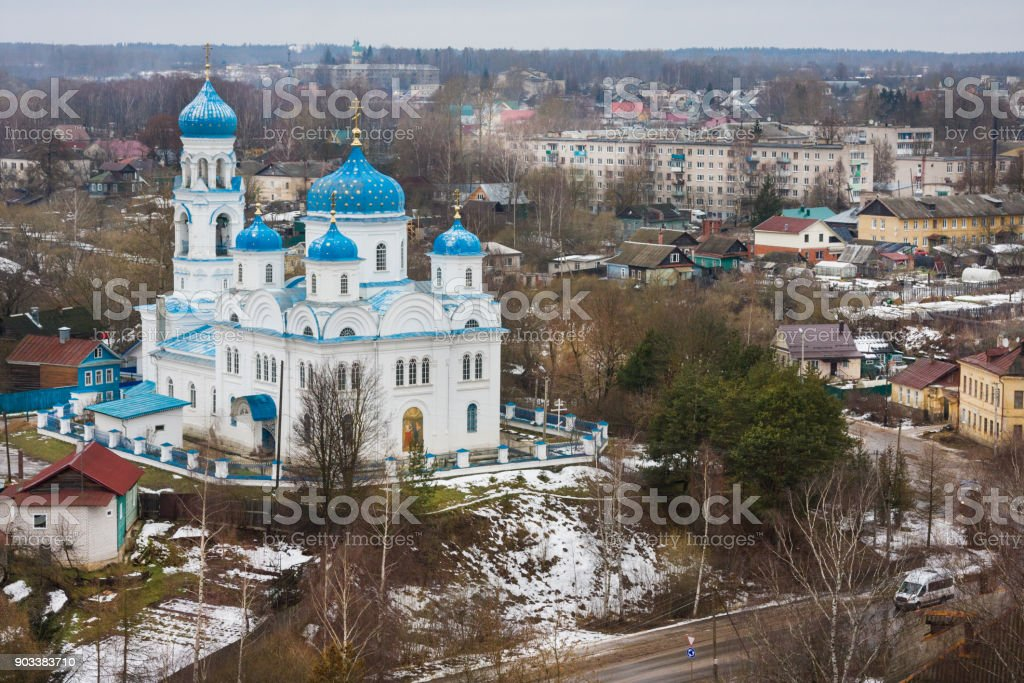 Top view of the Church of the Archangel Michael (Annunciation of the Blessed Virgin), Torzhok, Russia stock photo