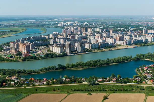 市のトップビュー クラスノダールとクバン川, ロシア - クラスノダール市 ストックフォトと画像