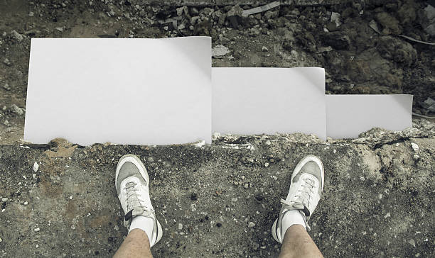 Top view of the cliff and paper messages. stock photo