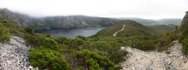 Top view of the deep blue color Crater Lake in the Cradle mountain of Tasmania, Australia stock photo
