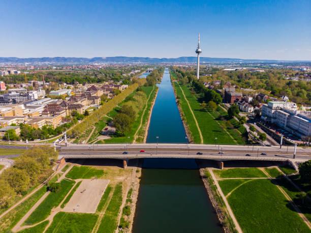 Blick auf die Böschung des Neckars. Brücken, Fernsehturm, grünes Gras und Bäume. Krankenhaus, Straßenbahnlinien. Mannheim. Deutschland. – Foto