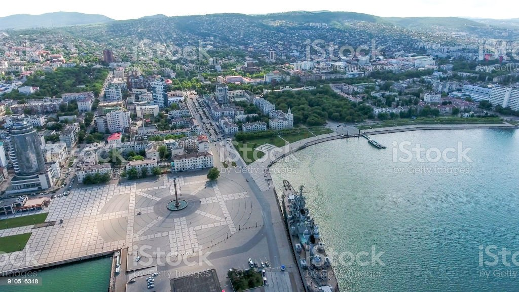 Top view of the marina and quay of Novorossiysk stock photo