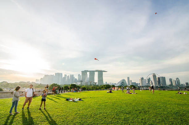 singapore - november 25, 2018:top view of the marina barrage roof top in the evening. marina barrage is a place of recreation, proving especially popular for picnics and kite flying. - singapore nature stock photos and pictures