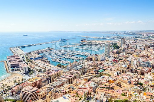 High angle view of the port / marina and the city of Alicante, Spain.