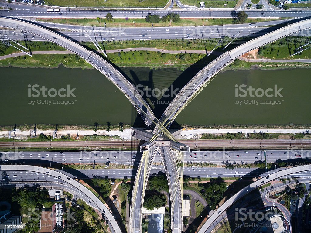 Top view of the most famous bridge in Sao Paulo stock photo