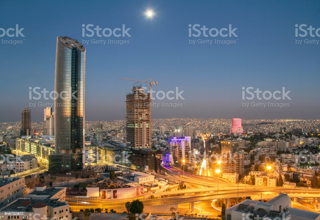 Top view of the new downtown of Amman stock photo