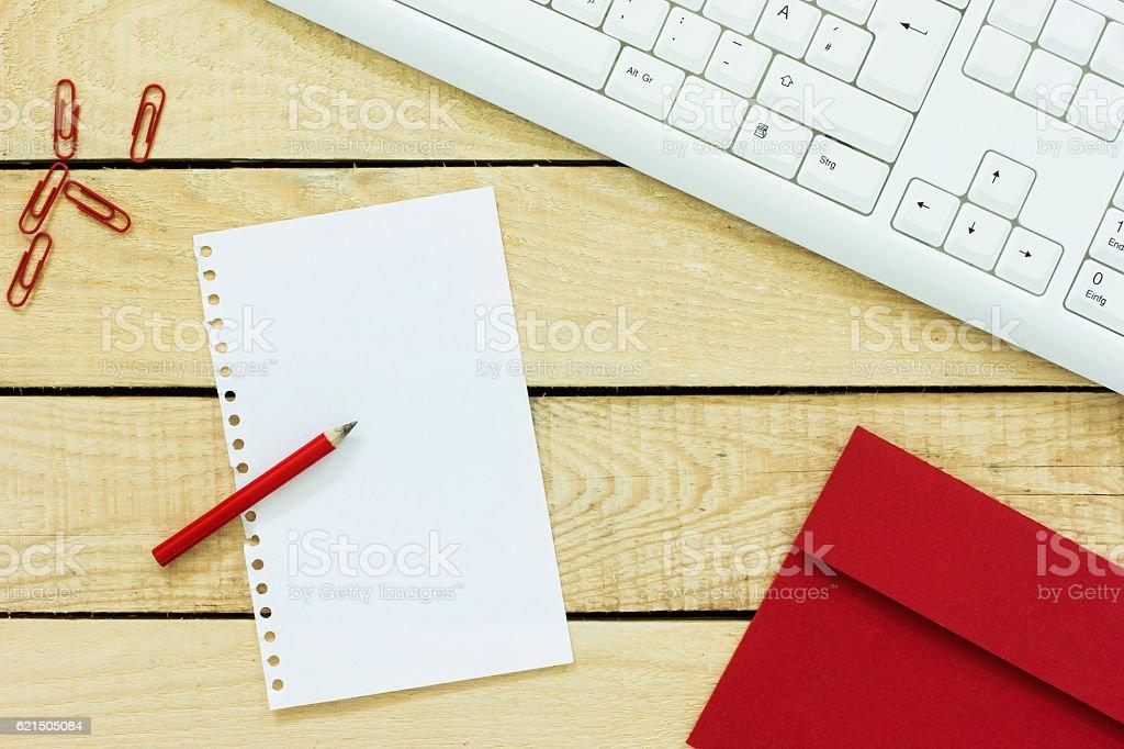 Top view of the office desk. photo libre de droits