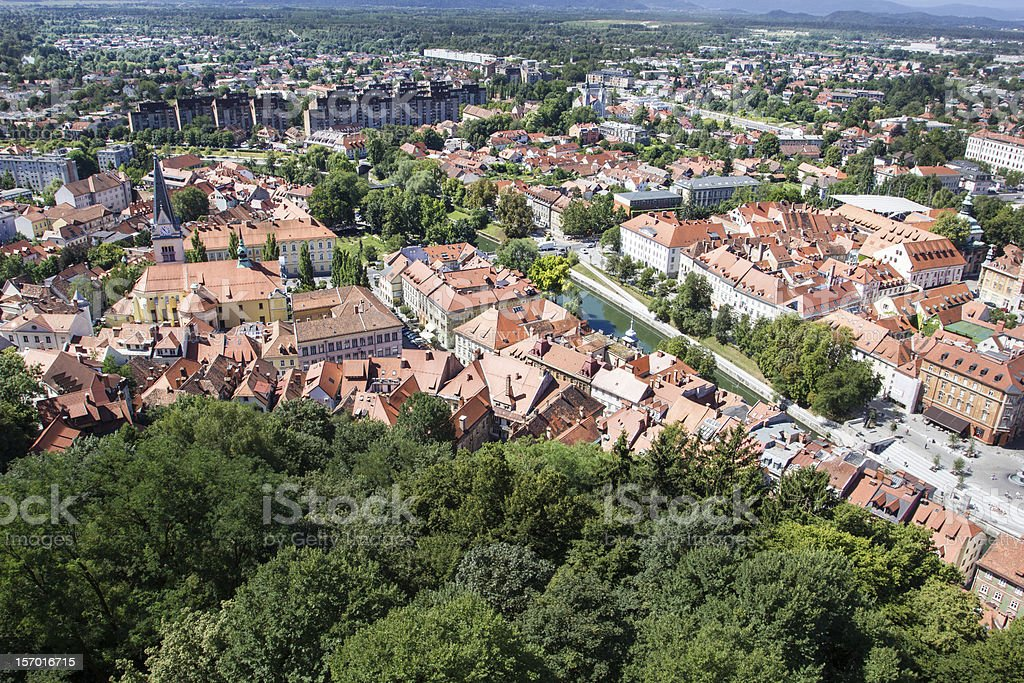 Top view of the old town, Ljubljana, Slovenia. stock photo