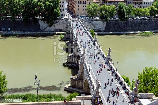 Pedestrian walking on the Sant'Angelo bridge in Rome, Italy. Top view from Castel Sant'Angelo.