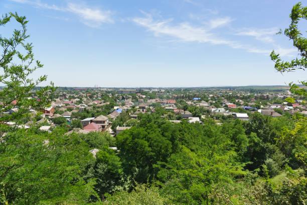 Vue de dessus de la petite ville Kuban de Krymsk dans la région de Krasnodar - Photo