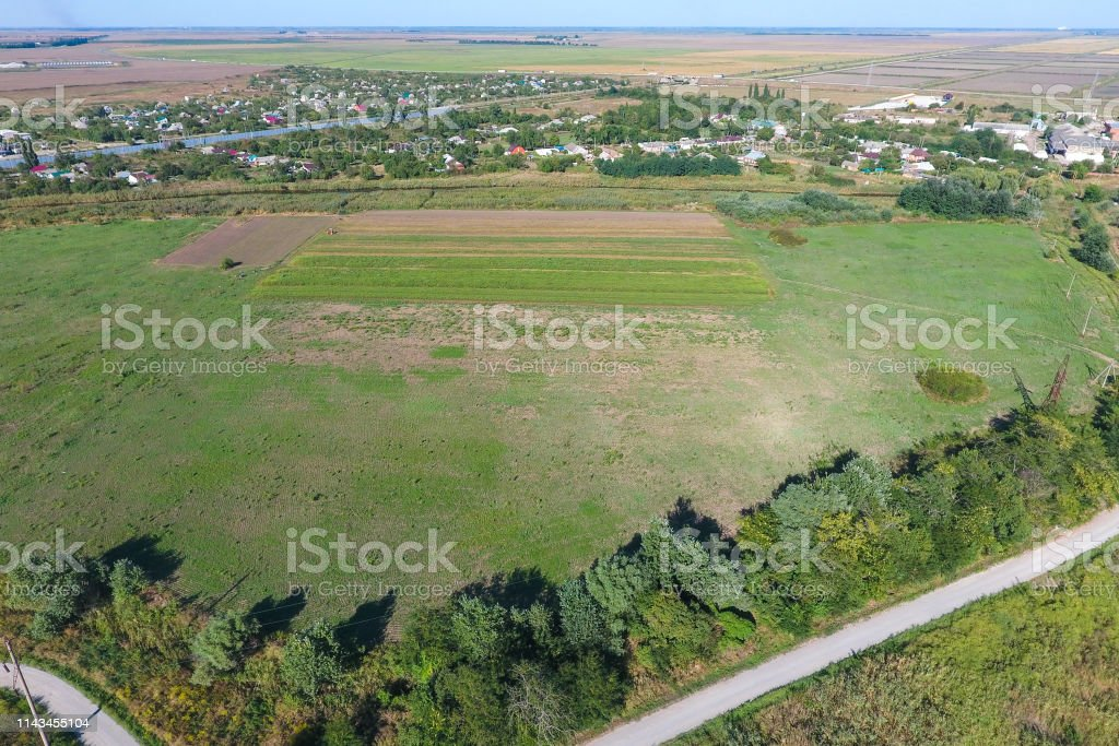 Top view of the small village stock photo