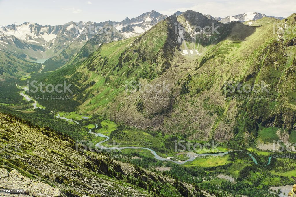Top view of the valley between the high mountains royalty-free stock photo