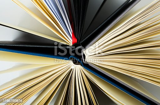 istock Top view of three opened books as a background 1195750974
