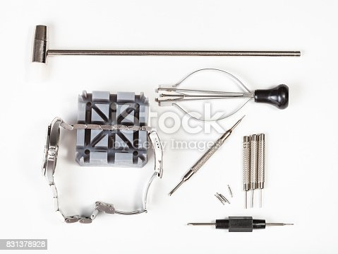 istock top view of tool kit for adjusting watchband 831378928