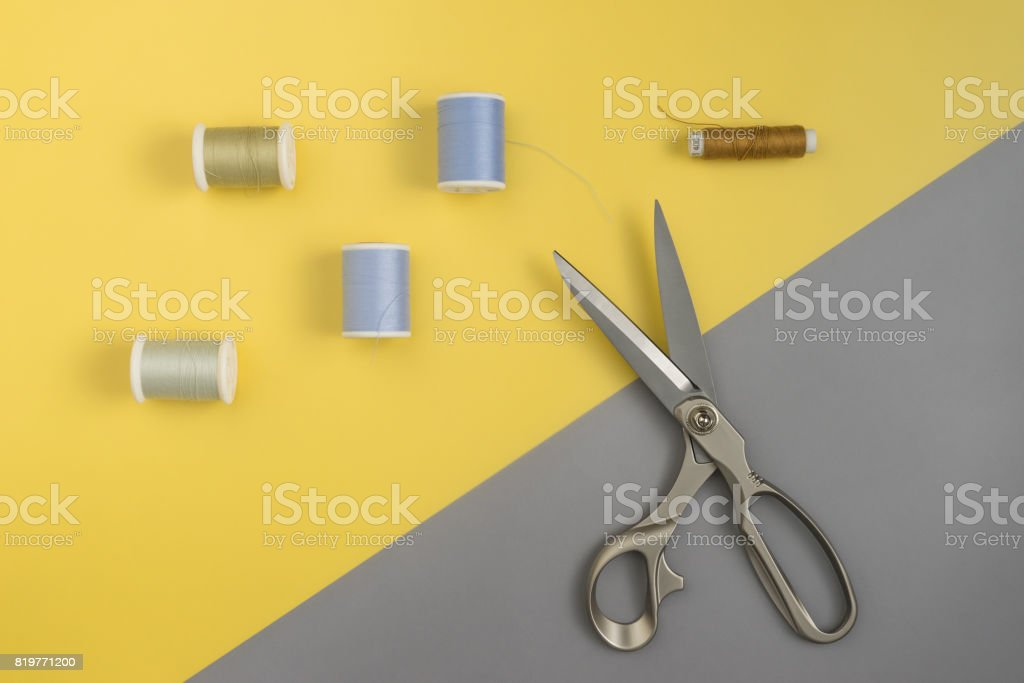 Top View Of Tools For Handicraft Sewing On Wood Texture Space For