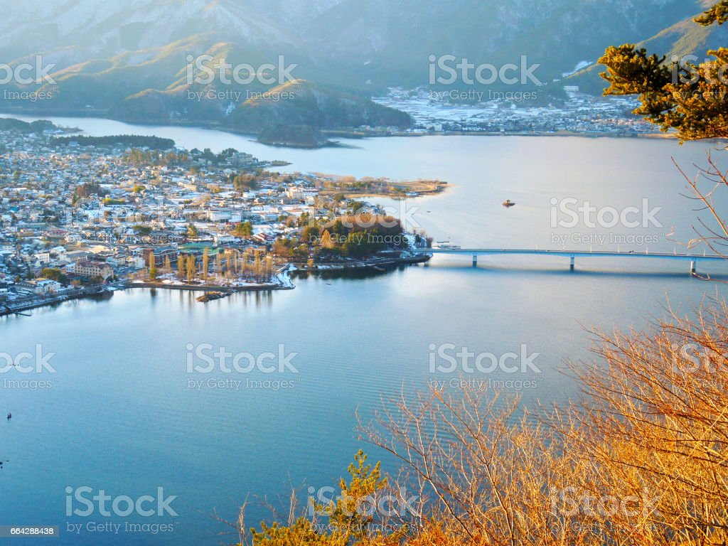 Top view of town around the Lake Kawaguchi stock photo