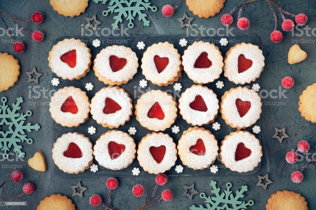 Top View Of Traditional Christmas Linzer Cookies With Red Jam On Dark Background Stock Photo Download Image Now