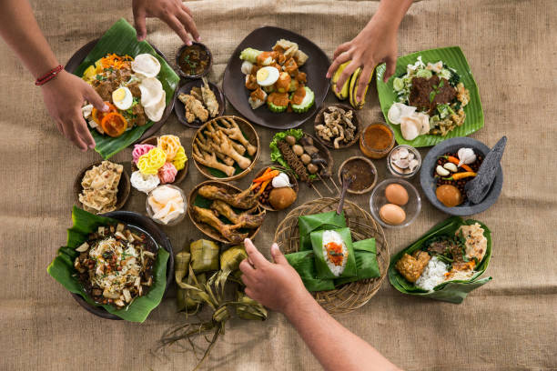 top view of traditional indonesian culinary food - ketupat stock pictures, royalty-free photos & images