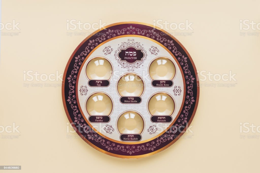 top view of traditional jewish plate isolated on beige, Passover Haggadah concept stock photo