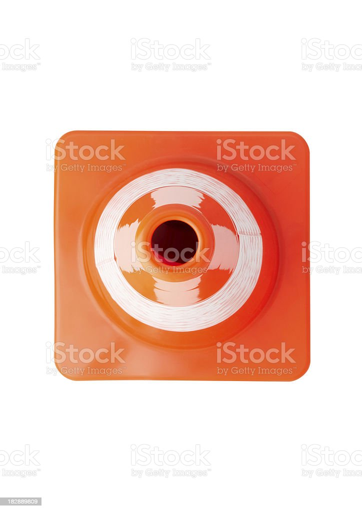Top view of traffic cone stock photo