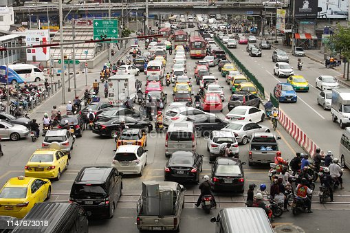 Bangkok, Thailand - September 12, 2018 : top view of Traffic jam in rush hour at Asoke Petchburi Road