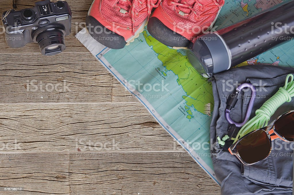 Top view of travel accessories for a mountain trip stock photo