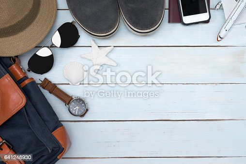 665586146 istock photo Top view of traveler accessories with copy space 641248930