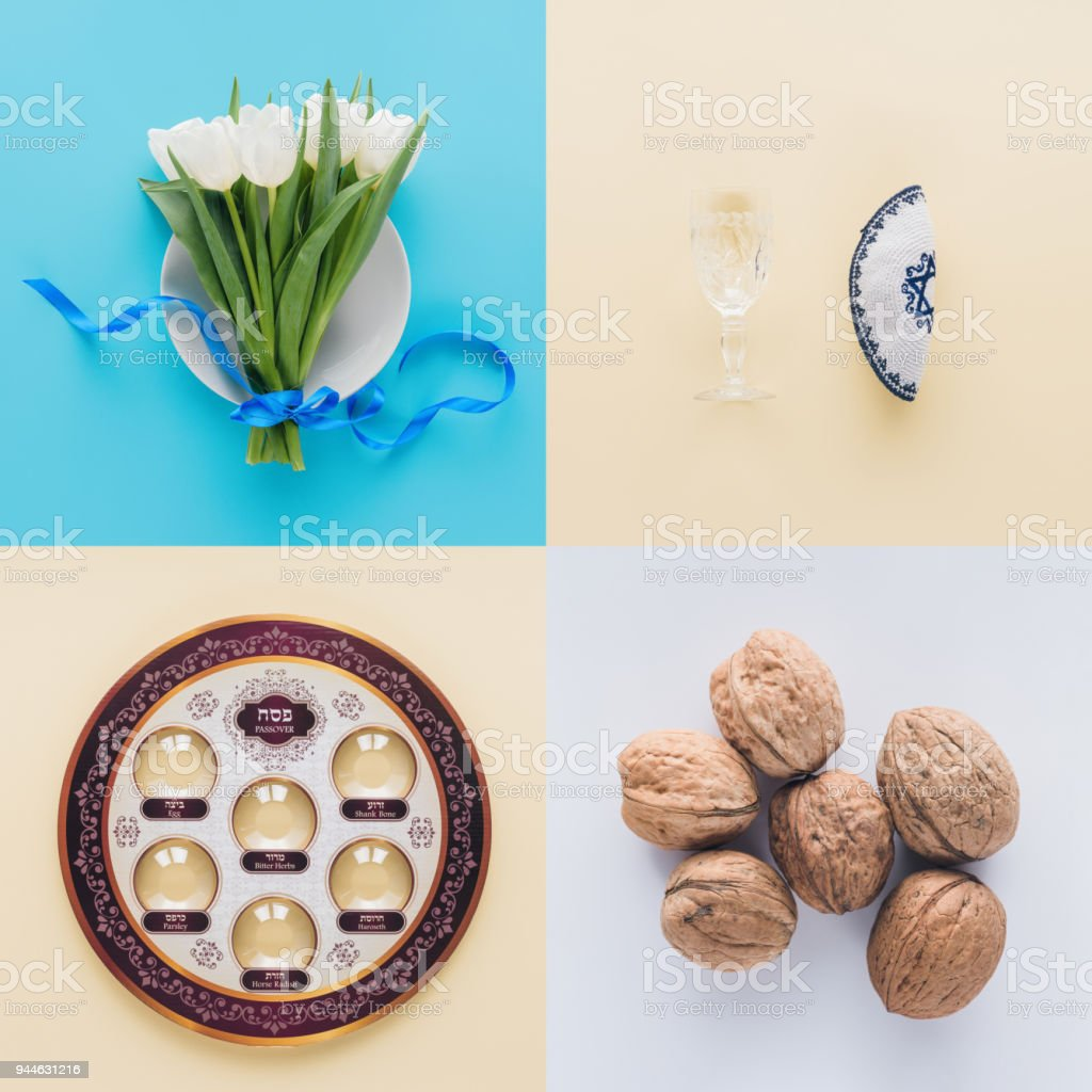 top view of tulips, traditional jewish plate and walnuts, Passover Haggadah concept stock photo