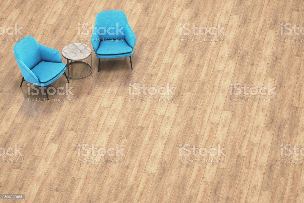 Draufsicht der zwei blaue Sessel und Beistelltisch In modernen Büro – Foto