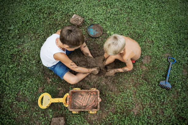 Top view of two brothers sitting on  grass playing with mud stock photo