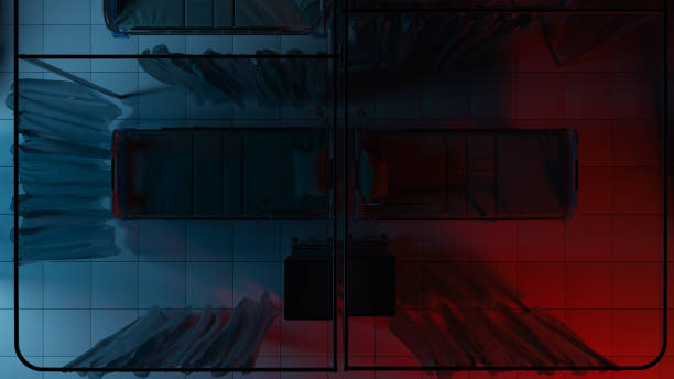 top view of two hospital beds illuminated dimly by blue and red lights in the dark - dimly stock pictures, royalty-free photos & images