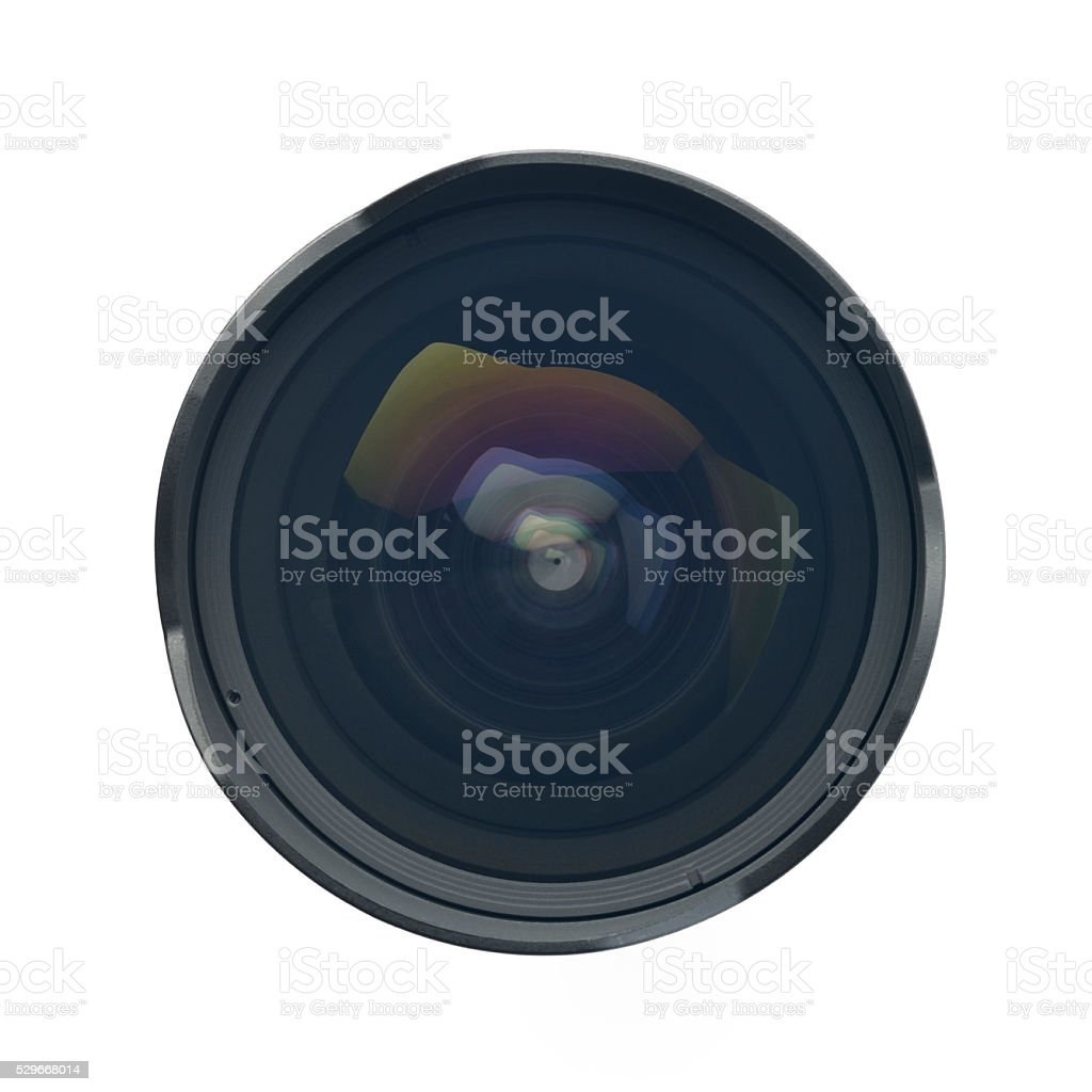Top view of Ultra Wide angle Lens on White Background stock photo
