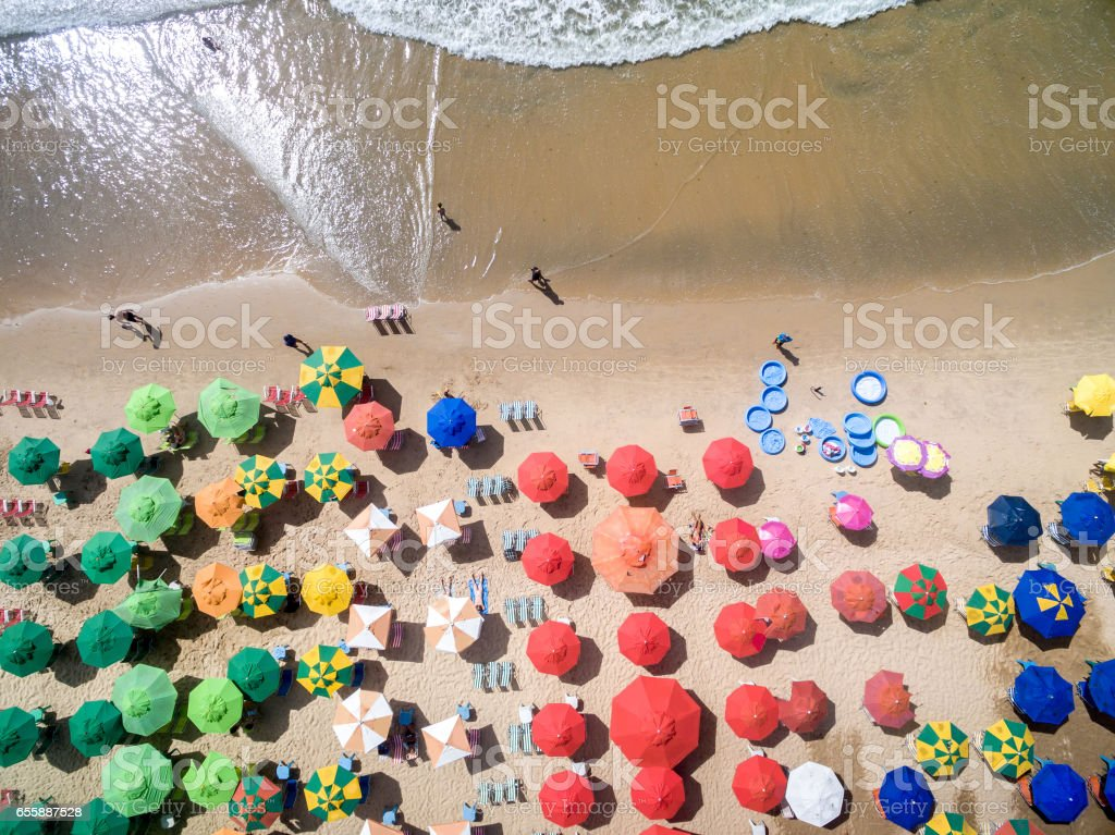 Top View of Umbrellas in a Beach stock photo