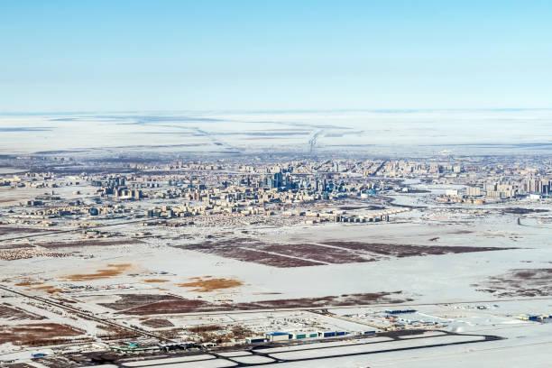 Top view of Urban contrasts in Astana, Kazakhstan. stock photo
