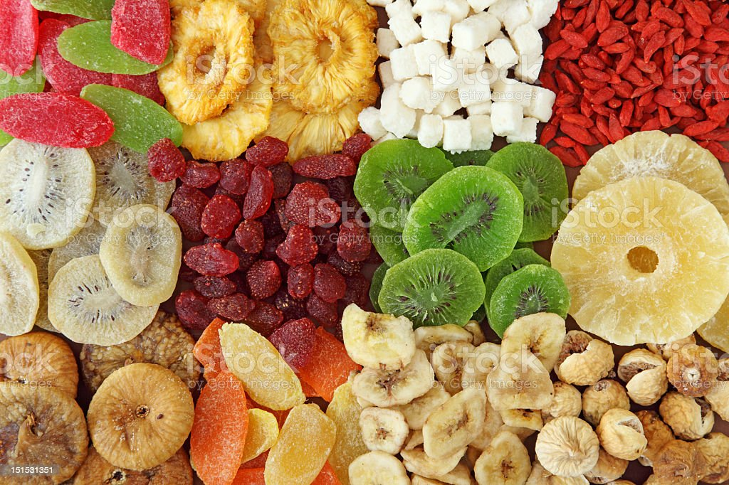 Top view of variety of dried fruits stock photo