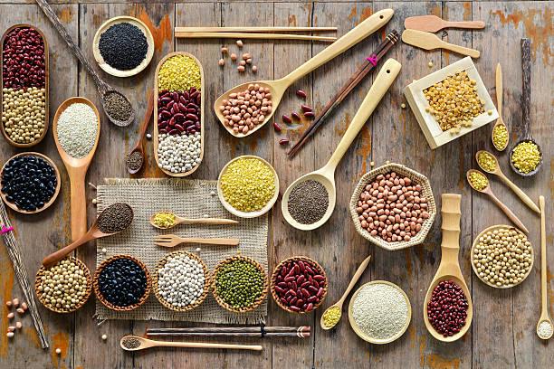 Vista superior de diversos leguminosas - foto de stock