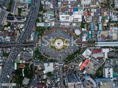 istock Top view of victory momument circus Bangkok 828712246